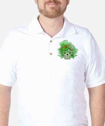 St.Patricks Day Skull Vintage Golf Shirt