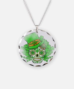 St.Patricks Day Skull Vintag Necklace Circle Charm