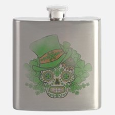 St.Patricks Day Skull Vintage Flask