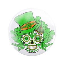 "St.Patricks Day Skull Vintage 3.5"" Button"