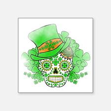"St.Patricks Day Skull Vinta Square Sticker 3"" x 3"""