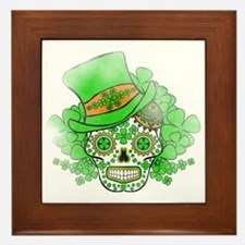 St.Patricks Day Skull Vintage Framed Tile