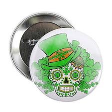 "St.Patricks Day Skull Vintage 2.25"" Button"