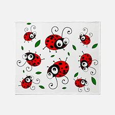 Cute Ladybug Pattern Throw Blanket