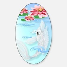 LargePosterSilver Koi-Pink and Pink Sticker (Oval)