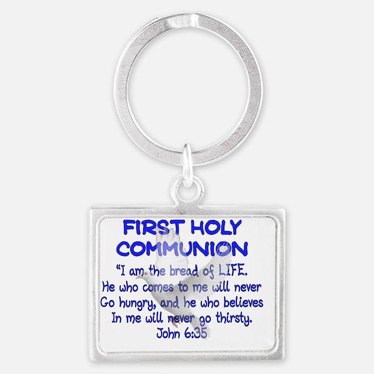 first communion dove BLUE lette Landscape Keychain