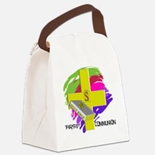 First Communion GOLD CROSS Canvas Lunch Bag