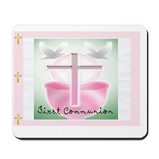 First Communion PINK POSTAGE Mousepad