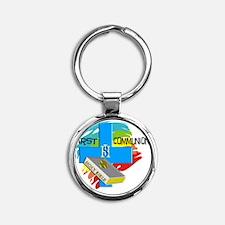 First Communion IHS Blue Cross Round Keychain