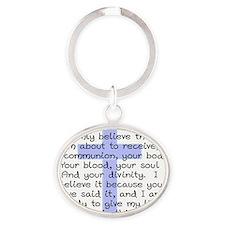 Holy Communion Prayer Cross CP Oval Keychain