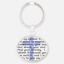 Holy Communion Prayer Cross CP Oval Keychain