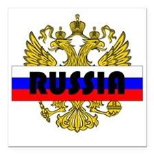 "Russian Eagle Square Car Magnet 3"" x 3"""