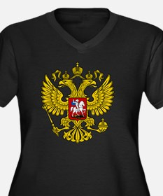 Russian Eagl Women's Plus Size Dark V-Neck T-Shirt