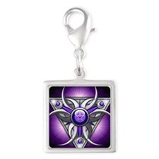Triple Goddess - purple - squ Silver Square Charm