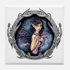 amethyst dragon in frame for water bo Tile Coaster