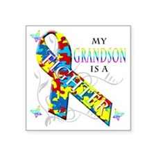 """My Grandson is a Fighter Square Sticker 3"""" x 3"""""""