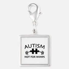 Autism Not For Wimps Silver Square Charm