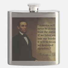 abe-lincoln-america-will-never-be-destroyed Flask