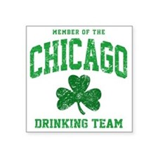"Chicago Drinking Square Sticker 3"" x 3"""