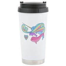 Blue narwhal + Pink narwhal = P Travel Mug