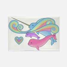 Blue narwhal + Pink narwhal = Pur Rectangle Magnet
