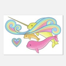 Pink narwhal + Yellow nar Postcards (Package of 8)