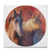 Horse Art Red Tile Coaster