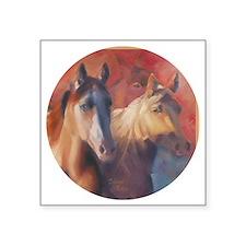 "Horse Art Red Square Sticker 3"" x 3"""