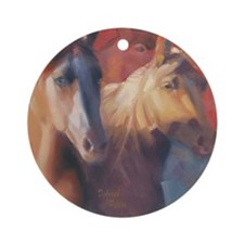Horse Art Red Round Ornament