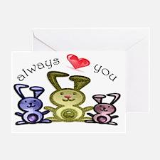 Always love you, cute bunnies art Greeting Card