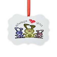 Always love you, cute bunnies art Ornament