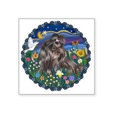 "MidnightGarden2-BlackShihTz Square Sticker 3"" x 3"""