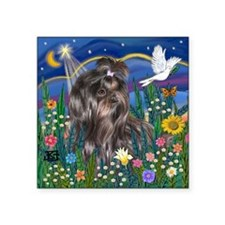 "T-MoonGarden2-BlackShihTzu  Square Sticker 3"" x 3"""