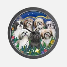 Tile-MoonGarden-7ShihTzuCUTIES Wall Clock