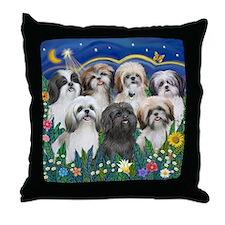 Tile-MoonGarden-7ShihTzuCUTIES Throw Pillow