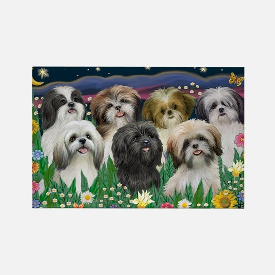 7 Shih Tzus - by JF Rectangle Magnet