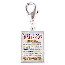 No MatterWhatTextColor. Silver Portrait Charm