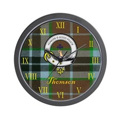 Thomson Clan Crest / Tartan Clock Wall Clock