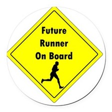 Future Runner On Board Maternity  Round Car Magnet