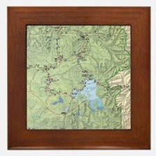 YNP_topographical_map_and_guide Framed Tile