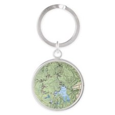YNP_topographical_map_and_guide Round Keychain