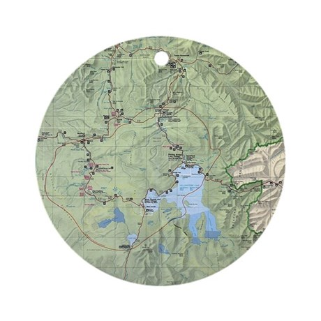 YNP_topographical_map_and_guide Round Ornament