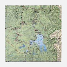 YNP_topographical_map_and_guide Tile Coaster
