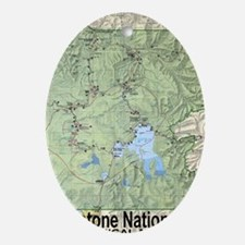 YNP_topographical_map_and_guide Oval Ornament