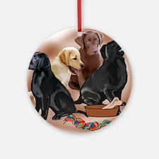labrador retriever puppies with toy Round Ornament