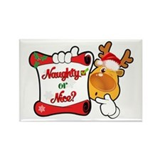 Naughtly or Nice Reindeer Rectangle Magnet