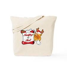 Naughtly or Nice Reindeer Tote Bag