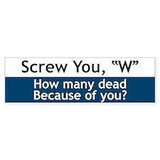Screw W - Bumper Bumper Sticker