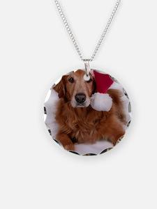 Santa Golden Retreiver Necklace