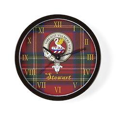Stewart Clan Crest / Tartan Wall Clock